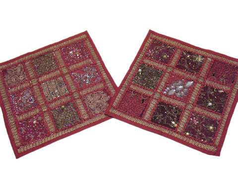 Pink Decorative Couch Cushion Covers 2 Square Toss Handmade Rajasthan Pillows