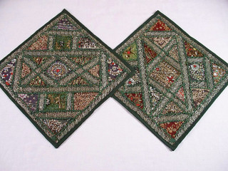 2 Indian Sari Kundan Beaded Green Throw Pillows Cushion