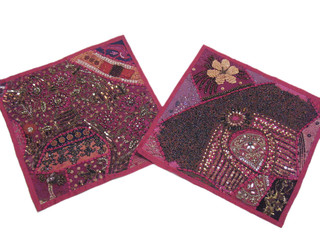 Pink Vintage Sari Pillowcases Handmade Rajasthan Patchwork Couch Throw Cushions