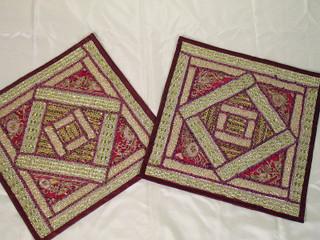 2 Zardozi Maroon Indian Patchwork Throw Pillow Shams
