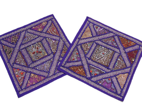 2 Purple Sari India Decorative Sofa Throw Bead Pillows