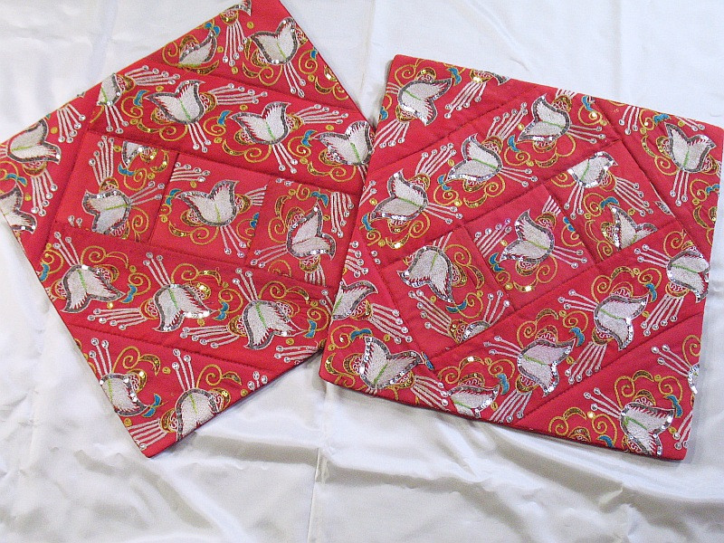 2 Red Indian Large Couch Sofa Decorative Pillow Cases