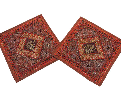 Brown Sari Bedroom Pillows 2 India Decor Handmade Patchwork Sofa Cushion Covers