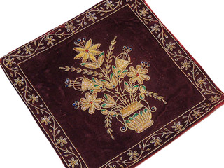 Beautiful Indian Couch Pillow Gold Zardozi Embroidered Unique Decorative Cushion