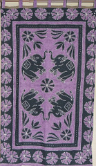 Purple Elephant Wall Hanging Indian Cotton Print Tapestry Huge Home Accent Gift