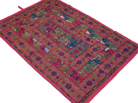 Pink India Wall Tapestry Handcrafted Vintage Sari Home Decor Ethnic Throw Art