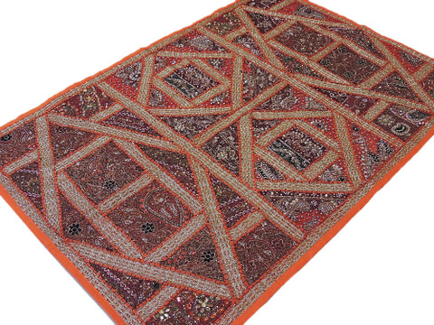 Orange Indian Wall Tapestry Decorative Sari Bead Work Handmade Handicraft Decor
