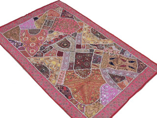 Pink Vintage Decorative Tapestry Indian Artisan Handmade Wall Hanging Throw