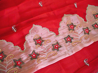 2 Red Decorative Handmade Indian Paisley Tab Curtains