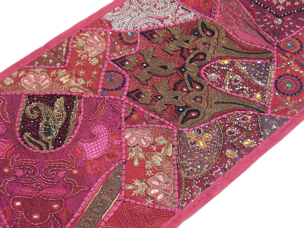 Antique Hand Embroidered Sequin Work Silk Wall Tapestry Table Cover from India