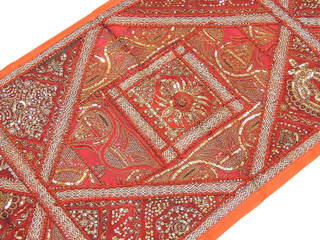 Russet Patchwork Handmade Runner Ethnic Design Home Decor Rajasthan Tapestry