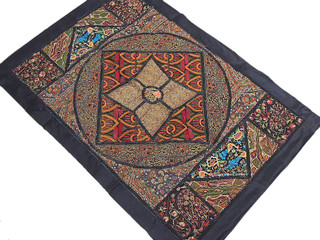 Kashmir Embroidery Traditional Tapestry Patchwork Textile Wall Hanging Decor