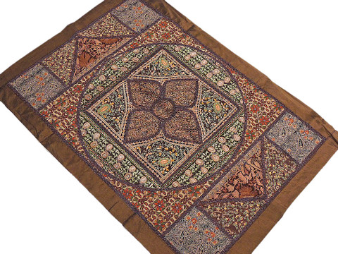 Fine Needle Embroidery Patchwork Traditional Kashmir Wall Hanging 38in x 26in