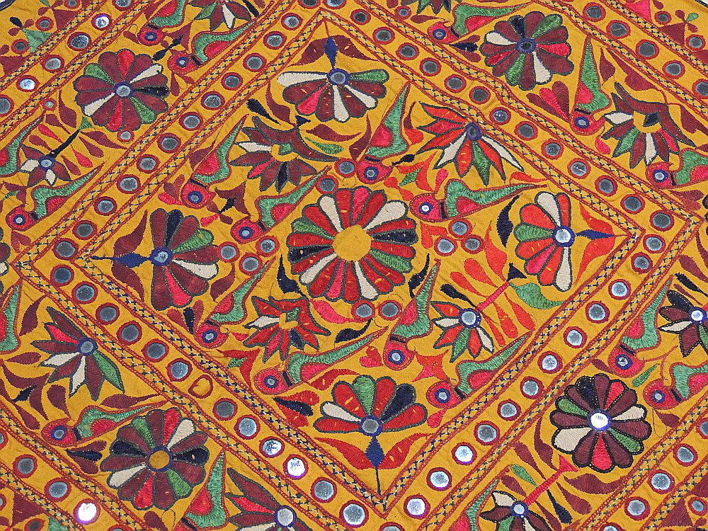 Old Indian Banjara Textile Hand Embroidered Fabric Wall