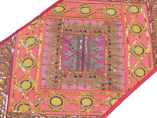Indian Vintage Table Runner Pink Sari Patchwork Wall Tapestry Ethnic Decor