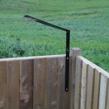 ProtectaPet® Cat Fence Right Corner Extra Long Bracket on a fence