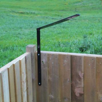 ProtectaPet® Cat Fence Left Corner Extra Long Bracket on a fence