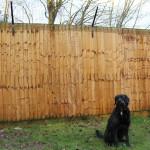 ProtectaPet® Dog Fence Left Corner Bracket in use.