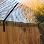 This is steel welded mesh which is galvanised for corrosion resistance and powder coated for an aesthetically pleasing finish.