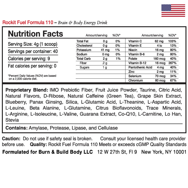 Rockit Fuel Formula 110 - Supplement Facts