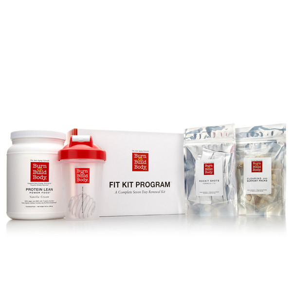 Fit Kit Program with an easy to follow guide, Protein Lean Power Food, Clearing & Support Packs, Rockit Fuel and a Burn & Build Body blender bottle.