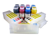 Refillable Cartridge Kit for Epson Pro 4000/7600/9600 with 8 x 500 ml bottles of Cave Paint Elite pigment inks - includes both Photo & Matte Black inks and cartridges