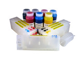 Refillable Cartridge Kit for Epson Pro 7600/9600 with 7 x 500 ml bottles of Cave Paint Elite pigment inks - includes Photo Black ink and cartridge