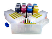 Refillable Cartridge Kit for Epson Pro 7800/9800 with 8 x 500 ml bottles of Cave Paint Elite Enhanced pigment inks - includes Matte Black ink and cartridge