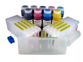 Refillable Cartridge Kit for Epson Pro 7880/9880 with 9 x 500 ml bottles of Cave Paint Elite Enhanced pigment inks - includes both Photo & Matte Black inks and cartridges