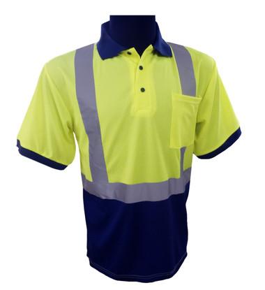 Navy / Lime Class 2 Short Sleeve Polo Shirt  ##G892 ##