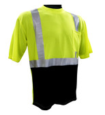 Hi-Vis Class 2 Reflective Safety Shirt - Safety Lime Green / Black Bottom ##BBG820G ##