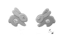 Bunny Post Earring 14Kt White Gold