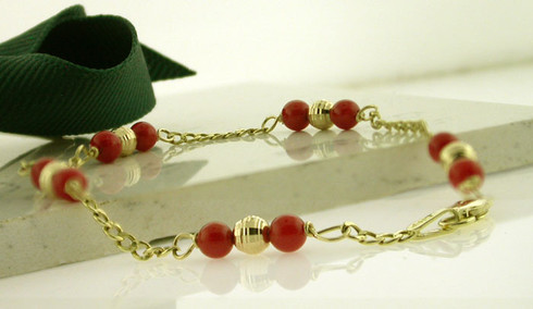14kt Gold Child Baby Coral Bracelet