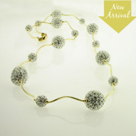 Shamballa Crystal Clear Necklace 14kt wave beads