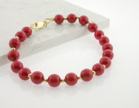 Red Coral Bracelet Gold Fill
