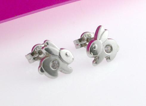 Bunny Stud Earring 14kt White Gold