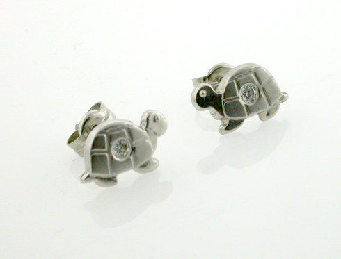 14K Turtle Stud Earring White Gold