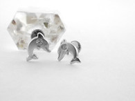 14K Dolphin Stud Earring White Gold