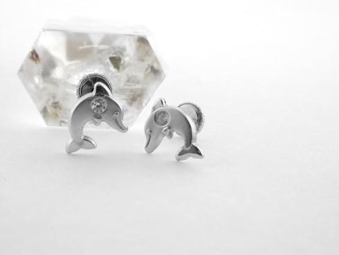 14K Dolphin Stud Earring White Gold