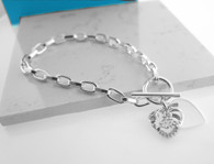 Quinceanera Toggle Bracelet Sterling Silver