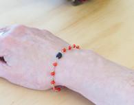 Red Coral  and Azabache Black Jet  Bracelet