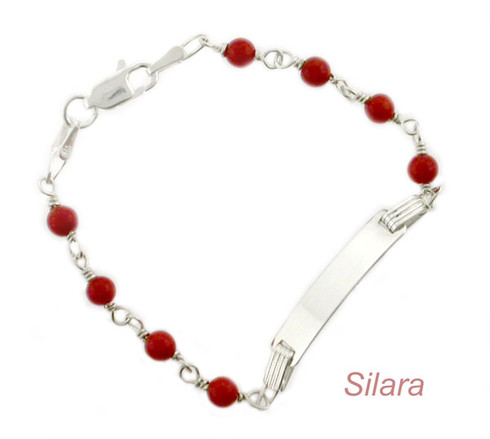 Baby Id Bracelet Coral Sterling Silver