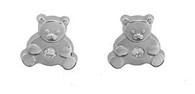 Bear Post Earring 14Kt White Gold