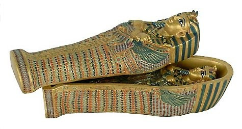 Sarcophagus (Coffin) of King Tut with small King Tut inside - Photo Museum Store Company