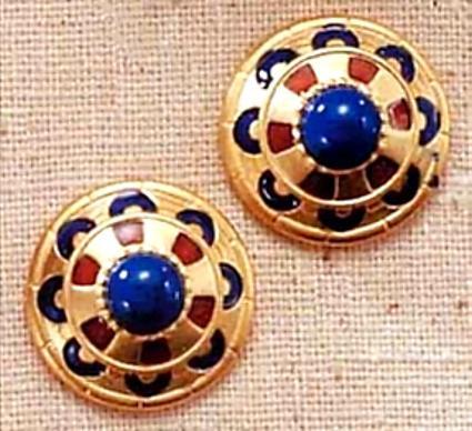 Royal Egyptian Clip Earrings - New Kingdom, 18th Dynasty,1555-1085 B.C. - Photo Museum Store Company