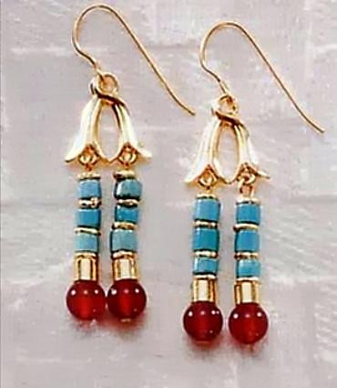 Thebes Earrings with Turquoise - Egyptian, c. 960 B.C. - Photo Museum Store Company