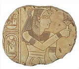 Hathor Relief - Temple of Abidos, Egypt. 19th. Dynasty 1317 B.C. - Photo Museum Store Company