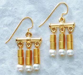 Classical Golden Triple Drop Earrings - Photo Museum Store Company