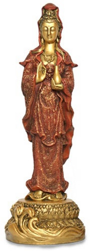 Standing Kuan-Yin Statue Holding Water Vessel, Gold and Red - Photo Museum Store Company