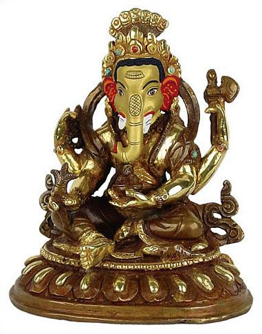 Seated Ganesh, 5H, gold plated - Photo Museum Store Company